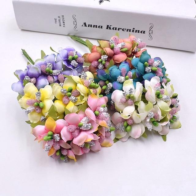 6pcs Silk Gradient Stamen Handmade Artificial Flower Bouquet Wedding ...