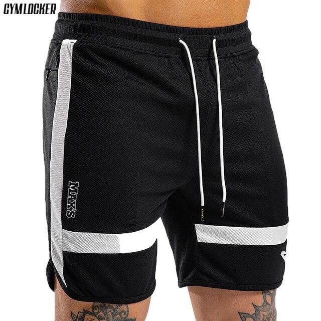 ARMÁRIO de ginástica 2019 academias de fitness Shorts men Malha splice casual calças curtas dos homens de Secagem rápida Calções de praia Masculino moletom basculador