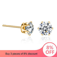 Fashion Earring 2019 Jewelry 7.5MM Round 2 Carat Cubic Zirconia Silver Stud Earrings for Women Best Gift dropshopping