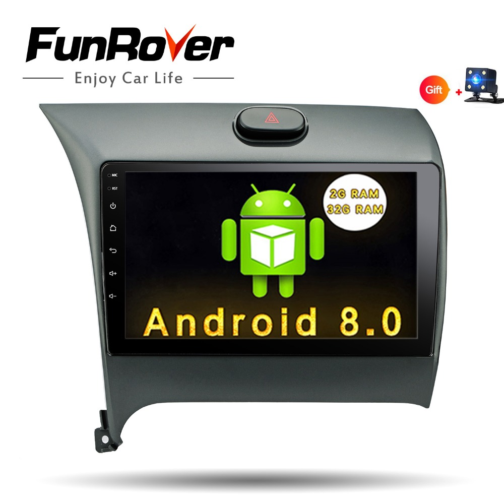 Funrover 2 din 9 Car DVD Player GPS Android 8.0 For kia k3 cerato forte 2012-16 Navigation Radio WIFI USB RDS BT tape recorder funrover 9 hd quad core ram 2g android 8 0 car navigation gps player for suzuki sx4 2006 2013 wifi rds radio bt fm usb no dvd