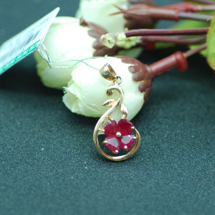18K Rose Gold Natural Ruby pendant Natural stone jewelry gift Love wedding for women Natural ruby stone