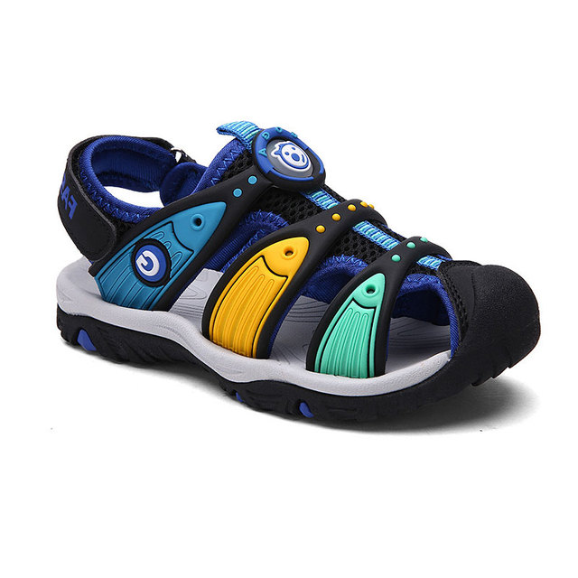 Kids Summer Sandals Size 24-38 Toddler & Big Boys Girls Beach Shoes Closed Toe Rubber Printed Casual Footwear Sandals Flat Shoes