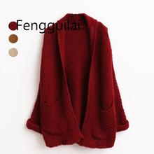New Autumn/Winter Long Loose Knit Cardigan Women Roll Sleeves with Pocket 2019  Beige Wine Red Coffee Sweater Lazy Style