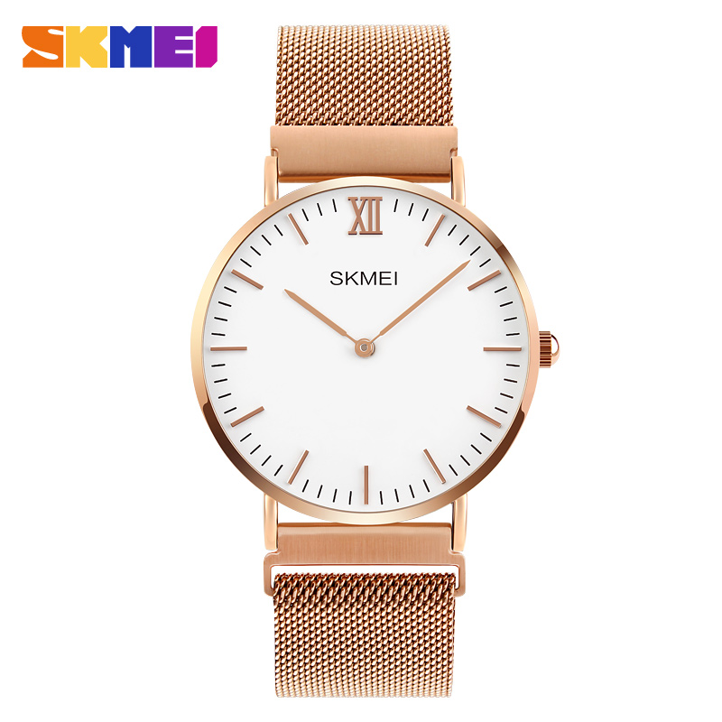 2017 SKMEI Luxury Brand Quartz Watch lovers Watches Women Men Dress Watches Ultra Thin Stainless Steel waterproof Male Clock