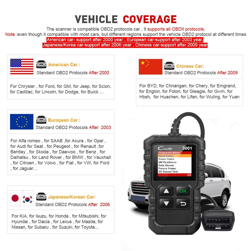 Image 5 - LAUNCH X431 CR3001 полный OBD2 сканер OBD 2 считыватель кодов двигателя Creader 3001 автомобильный диагностический инструмент PK CR319 AD310 ELM327 сканирующий инструмент-in Считыватели кодов и сканирующие инструменты from Автомобили и мотоциклы