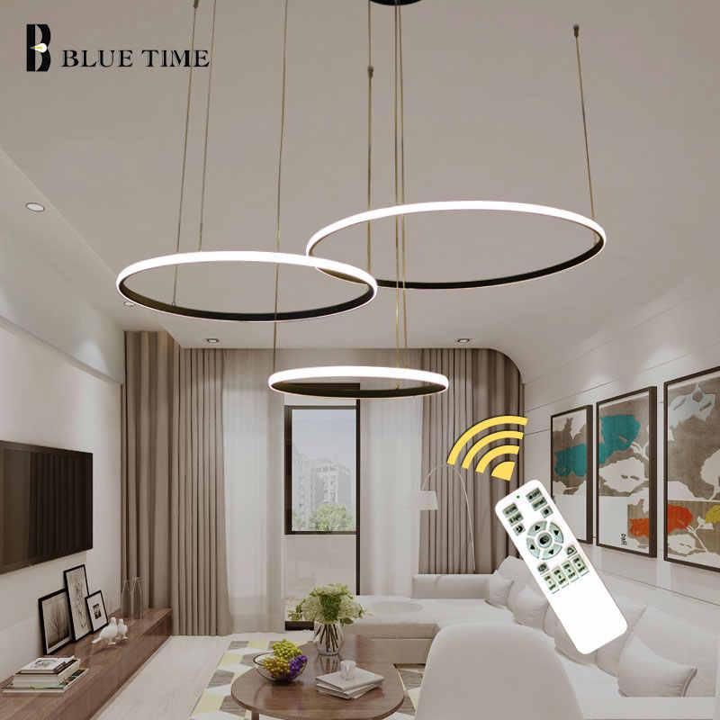 New Led Pendant Lights Modern For Dining Room Living Room 4 3 1 Circle Rings Pvc Led Home Lighting Ceiling Lamp Lighting Fixture