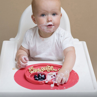 Silicone Baby Feeding Dinner Plate Tray Portable Dish Bowl Kids Tableware Placemat Dinnerware Food Holder