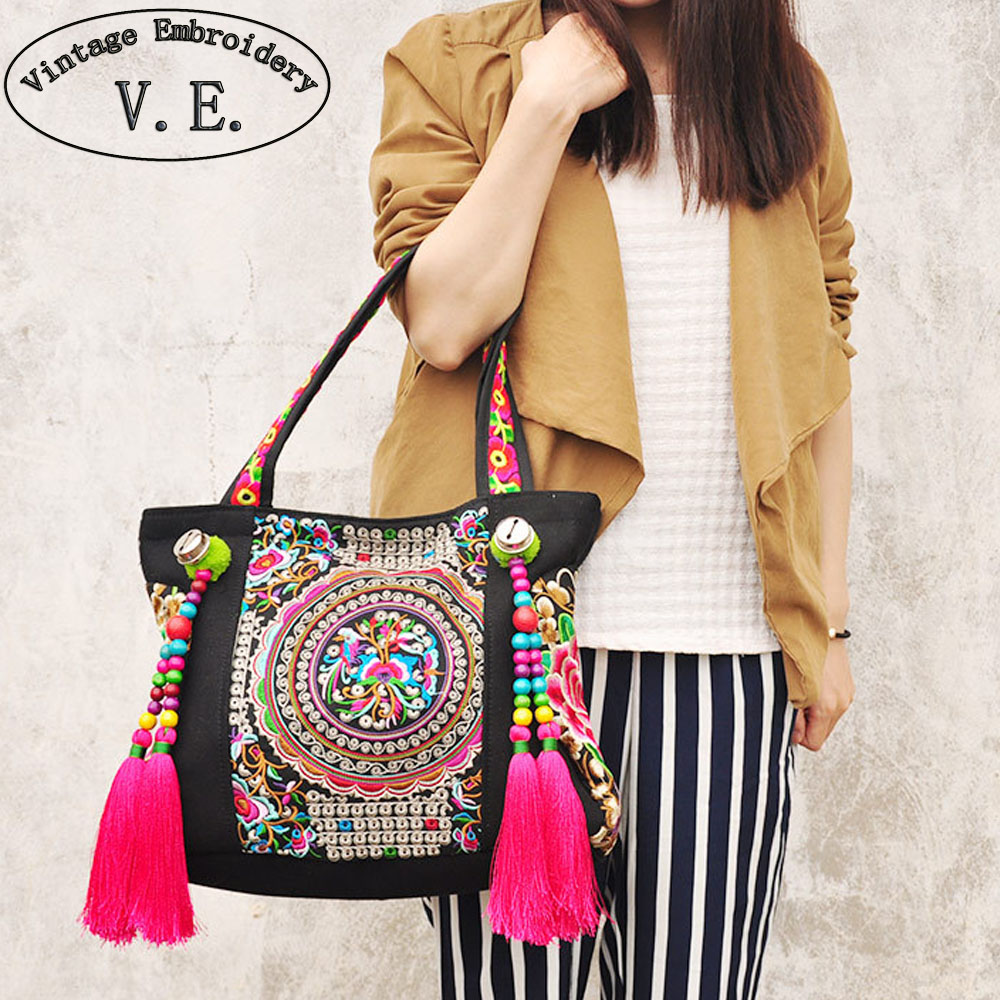 Ethnic embroidery bags fashion personality Chinese National style tassel beads shoulder bag lady big travel shopping handbag 2016 summer national ethnic style embroidery bohemia design tassel beads lady s handbag meessenger bohemian shoulder bag page 5