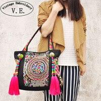 Torby mody osobowości Chiński styl Narodowy etniczne hafty koraliki kitki torba na ramię pani duży podróży torebka na zakupy