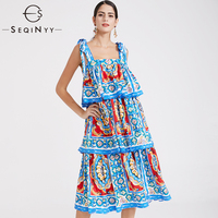 SEQINYY Summer Dress High Quality Sleeveless Fashion Women's Plus Size 6XL Midi Flowers Printed Cascading Ruffle Blue Dress