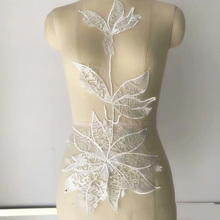 1 Piece Maple Leaf Bridal Gown Lace Applique Embroidery Patches Trim Collar Wedding Bodice Veil Accessories Ivory
