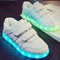 Usb recarregável led branco chinelos crianças shoes light up glowing shoes para meninas meninos formadores sapatilha cesta levou crianças enfant