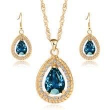 Lemon Value Collier Fashion Statement Choker Luxury Crystal Water Drop Pendant Necklace Earrings Women Wedding Jewelry Sets L020