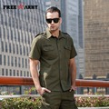 Plus Size Mens Shirt Short Sleeve Army Green Embroidery Casual Shirts Cotton Slim Fit Shirts Brand Quality Men's Clothing Ms-602