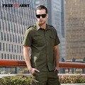 Tallas grandes Para Hombre Camisa de Manga Corta Verde Del Ejército Del Bordado Ocasional Camisas de Algodón Slim Fit Camisas hombres de Calidad Marca de Ropa Ms-602