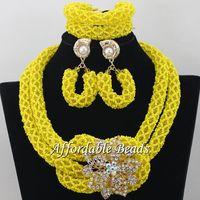 노란색 씨앗 구슬 웨딩 의상 보석 좋은 두바이 골드 보석 세트 수제 항목 도매 무료 배송 NCD017