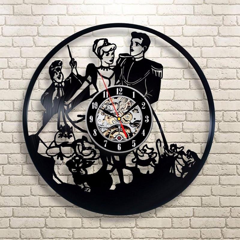 Bande dessinée Prince Cendrillon Disque Vinyle Horloge Murale Classique À La Main Art Décoratif Creux Rétro CD Dossier Suspendu LED Horloge Murale