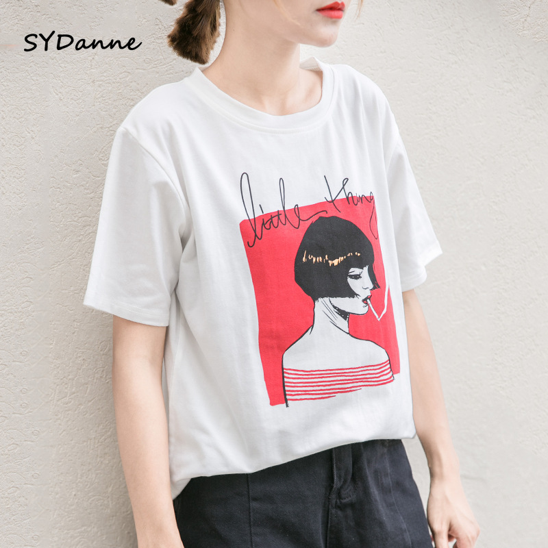 SYDanne 2019 Fashion Cool Print Female T-shirt White Cotton Women Tshirts Summer Casual Harajuku T Shirt Femme Top Plus Size 3XL