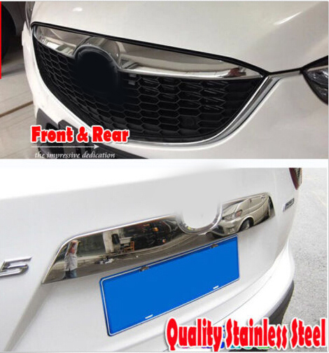 bright chrome Stainless Rear & Front Bumper molding moulding trim decoration Protector trunk Lid Grille Trims For Mazda CX-5 CX5