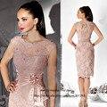 Edad de la madre corta rosa de la novia del cordón 2015 de la envoltura mujeres Vestido de noche hasta la rodilla Vestido de madrina