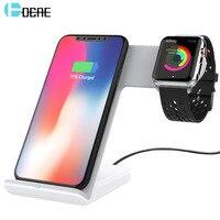 DCAE 10 Вт Qi Беспроводной Зарядное устройство для iPhone X 8 плюс 2 в 1 быстрой зарядки Держатель для блокнота для Apple Watch iwatch 3 2 1 для samsung S9 S8