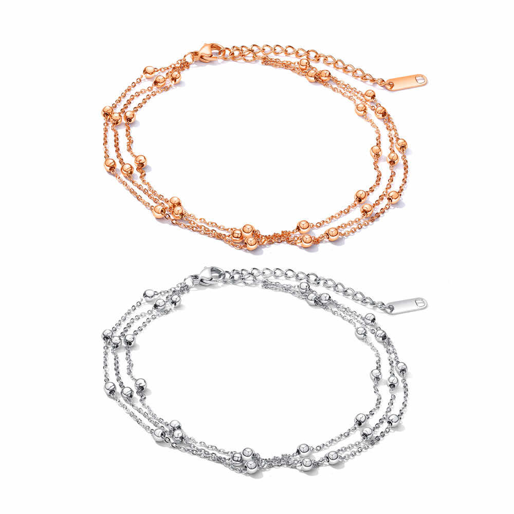 Stainless Steel Ankle Rose Gold Silver Color Bead Ball Shape Summer Beach Barefoot Anklets Bracelet Jewelry for Woman Leg Chain