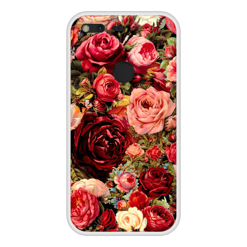 Phone Case For Google Pixel Soft Silicone TPU Floral Flower Pattern Painting For Google Pixel Cases