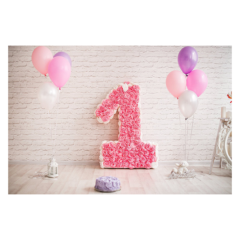 7x5ft White Brick Wall Photography Backdrops Wood Floor Pink Balloon 1st First Birthday Backdrops For Cake Smash Party Photo B kate wood photography photography white brick wall backdrops gray wood floor baby backgrounds for photo shoot print cm 5674