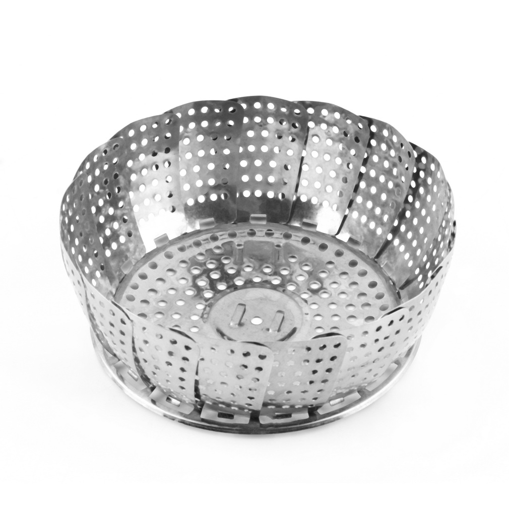 1PCS Stainless Folding Mesh Food Vegetable Egg Dish Basket Cooker Steamer Strainer Basket Cooker Bowl Expandable Kitchen Tool