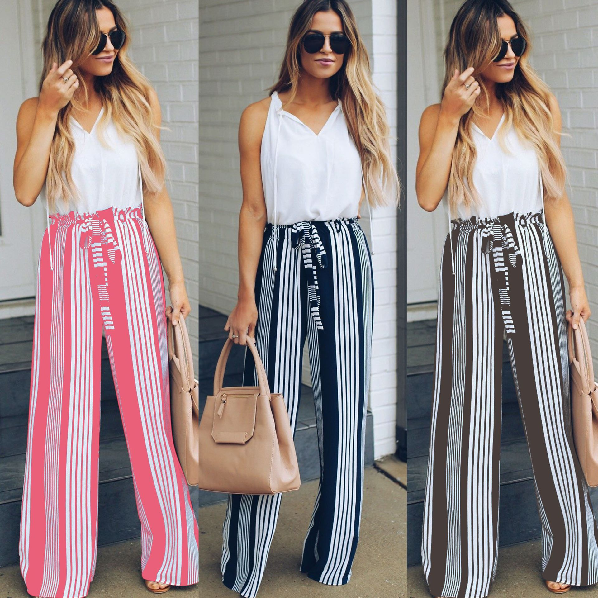 2018 Hot Sale Women Stripe Printed Bandage   Wide     Leg     Pants   Casual   Leg     Pants   For Women Lace Up Trousers Women Casual   Pants