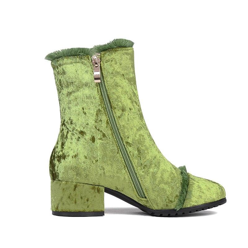 Phoentin púrpura flecos botas señora 2018 nueva llegada zip tobillo botas terciopelo bloque talón verde invierno Zapatos Mujer talla grande FT524-in Botas hasta el tobillo from zapatos    2