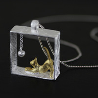 925 Pure Silver Creative Jewelry Wholesale Original Funny Literature Art Lovely Kitten Pendant Necklace Cat Play Ball