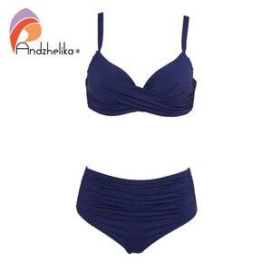 Image 3 - Andzhelika Biquínis Mulheres Swimwear Fold Sólidos Cintura Alta Bikinis Set 2020 Verão Sexy Plus Size Swimwear Maiô Biquini