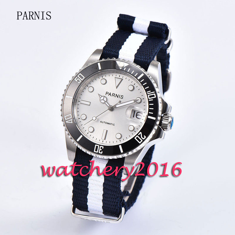 Fashion 40mm Parnis white dial black ceramic bezel white numbers Sapphire glass miyota Automatic business Men