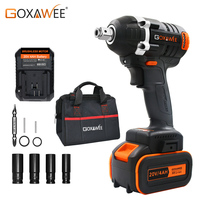 GOXAWEE 20V Cordless Electric Wrench Impact Driver Brushless Socket Wrench Lithium Battery Hand Drill Installation Power Tools