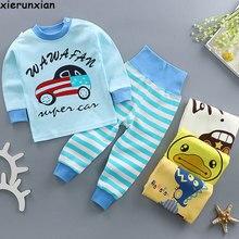 Пижамы для малышей с изображением животных, хлопковый топ с длинными рукавами для сна+ штаны с высокой талией, одежда для малышей, пижамы для новорожденных, одежда для сна для 9 мес.-24 мес