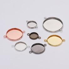 20 шт 10-25 мм Размер двойное кольцо Круглый на основе кабошона металлические каемки Пустые Подвески браслет Подвеска для материал для изготовления украшений