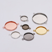 20pcs 10-25mm Size Double Ring Round Cabochon Base Tray Bezels Blank Charms Bracelet Pendant Setting For Jewelry Making Supplies 20pcs 12mm heart inner size stainless steel material simple style cabochon base cameo setting charms pendant tray t7 41