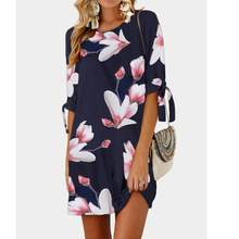 Womens Floral Print Bowknot Sleeves Cocktail Mini Dress Casual Party Dress  Dress Boho Style Short Party Beach Dresses New G40 d98f152ff696