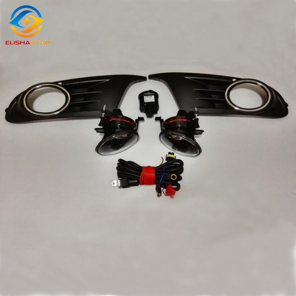 ELISHASTAR 2шт Противотуманные фары +2 шт. решетки +кабель 1шт ремень +1шт фары переключатель управления для VW GOLF6 МК6 2010-2014