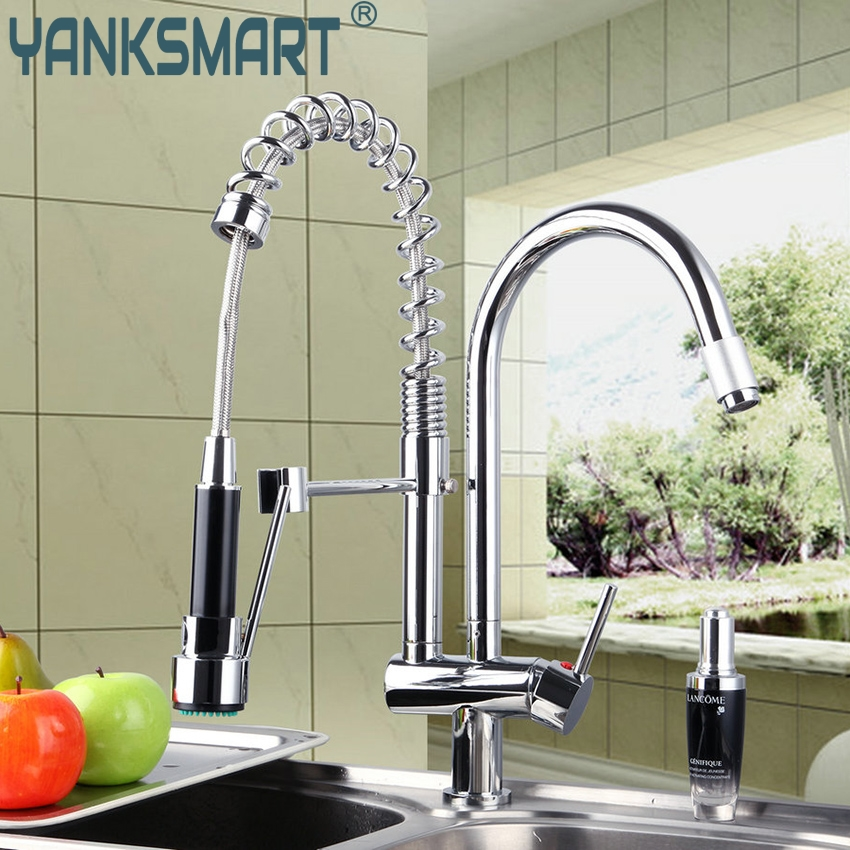 YANKSMART Kitchen Faucet Brass Kitchen Two Spout Mixer Cold & Hot Pull Down Single Hole Water Tap Kitchen Faucet Chrome micoe brass faucet single handle single hole kitchen faucet double nozzle water mixer chrome hot and cold water rotating faucet