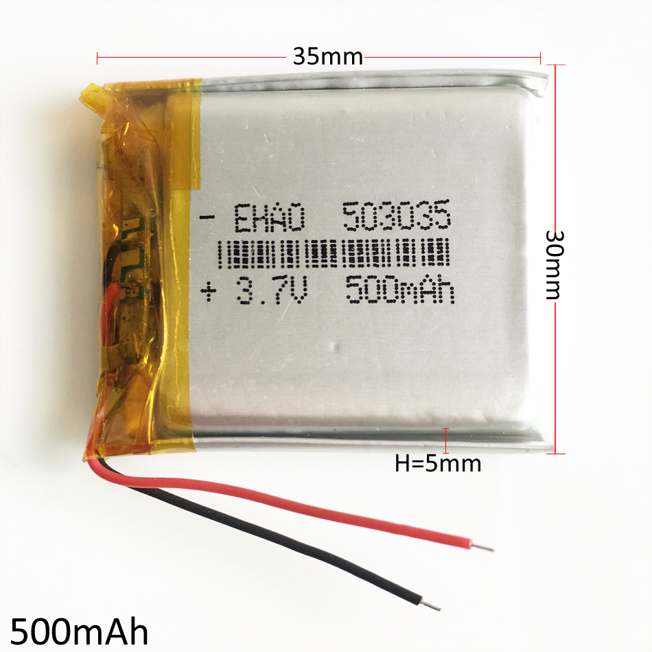 3.7V 500mAh 503035 Lithium Polymer Li-Po Rechargeable Battery cells For Mp3 GPS PSP bluetooth speaker camera electronic part image