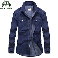 2018 Brand Spring Denim Shirt Men Shirt Long Sleeve Turn-down Collar Jeans Shirt Cotton Breathable Plus Size S-XXXL Mens Shirts