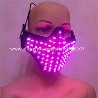 Новые цветные LED световой маска ночной клуб осветить реквизит певица танцевальная одежда дышащая Хэллоуин маскарад Маски для вечеринок