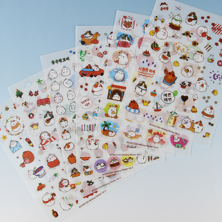 6 Sheets/pack New Korea Creative Potato  Rabbit Series Pvc Sticker Set Kawaii Stationery Animal Stickers