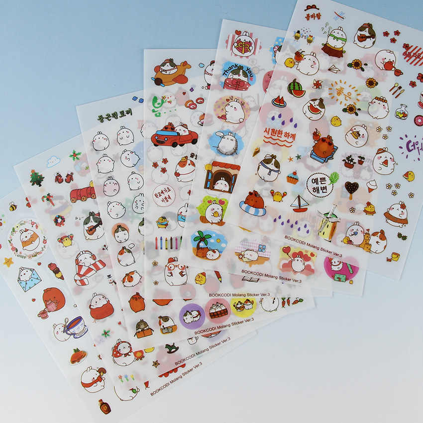 6 Sheets/pack New Korea Creative Potato  Rabbit Series Pvc Sticker Set Kawaii Stationery Animal Stickers