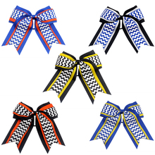 7 Inch Hair Bows Printed stripes cheer bows With  Elastic Hair Bands  Polyester ribbon Kids Girls Hair Accessories Hair clip