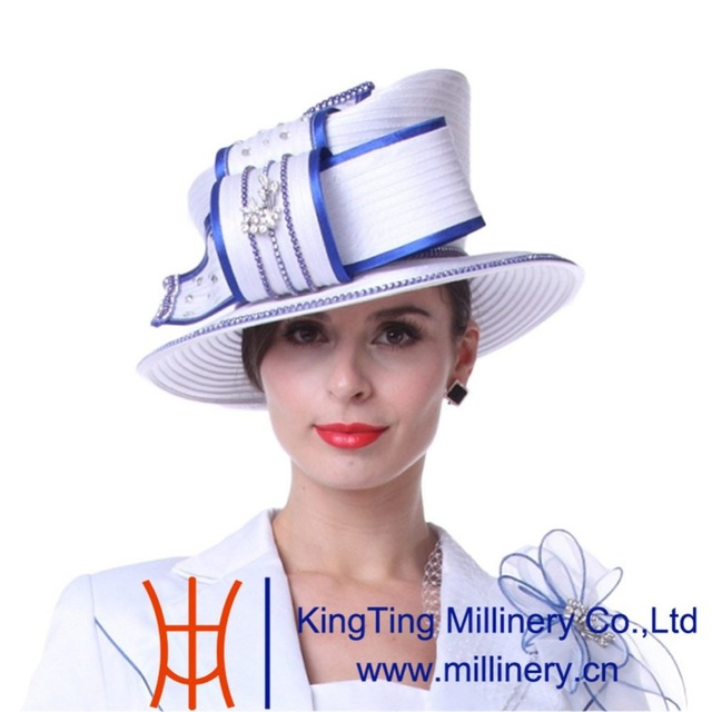 71daa52f998 Kueeni Women Hats Diamond Casings Elegant Lady Church Hats White Color High  Noble Fashion Lady Wedding Party Office Church Hats