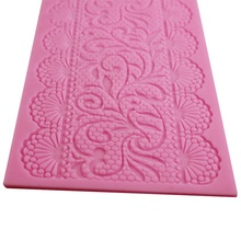 Hot 3D Aomily Lace Flower Wedding Silicone Cake Tools Beautiful Fondant Mold Sugar Craft  Mat Pad Pastry Baking Tool