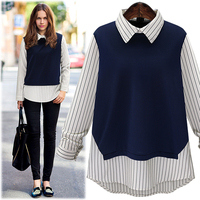 Large Size 2016 New Autumn Fashion Women Peter Pan Collar Stripe Stitching Long Sleeved Shirt Ladies